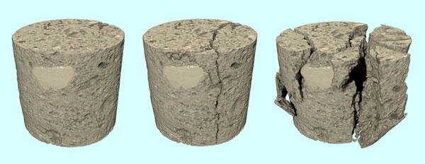 Compression testing limestone using micro-CT