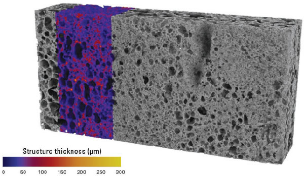 Structure thickness map of aluminium foam
