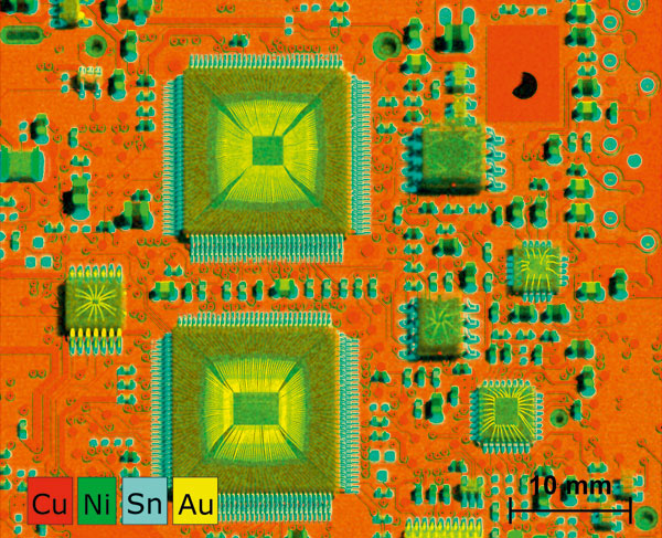 Micro-XRF map of a circuit board