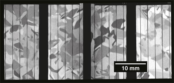 Raman image of crystal domains in a photovoltaic cell