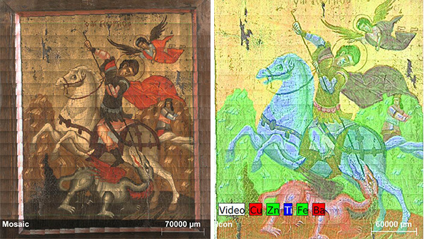Micro-XRF element mapping of a painting