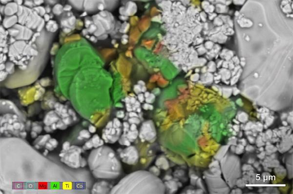 SEM image of contamination with EDS data